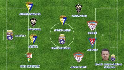 El once de bronce del Grupo IV de Segunda División B durante la ...